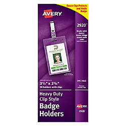 Avery Badge Holders Portrait With Clip