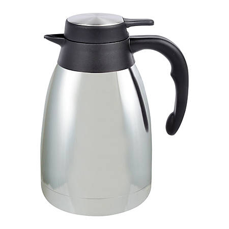Genuine Joe® Classic 5-Cup Stainless-Steel Vacuum-Insulated Carafe, Chrome/Black