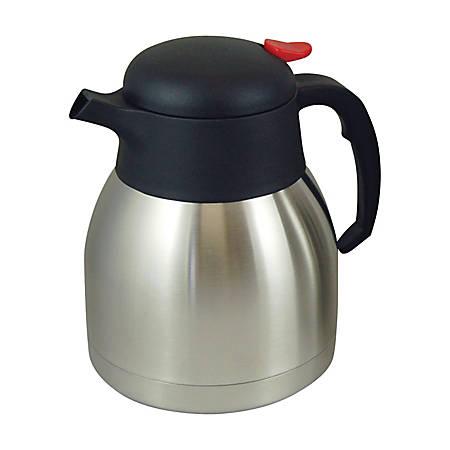 Genuine Joe Everyday 4-Cup Stainless Steel Vacuum-Insulated Carafe, Silver/Black