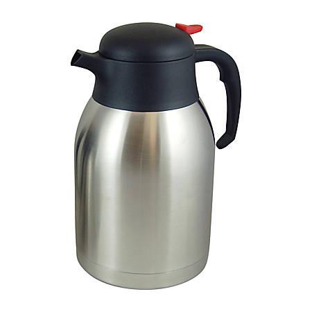 Genuine Joe Everyday 8-Cup Stainless Steel Vacuum-Insulated Carafe, Silver/Black
