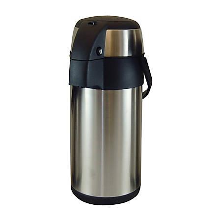 Genuine Joe 12-Cup Vacuum Pump Airpot, Stainless Steel