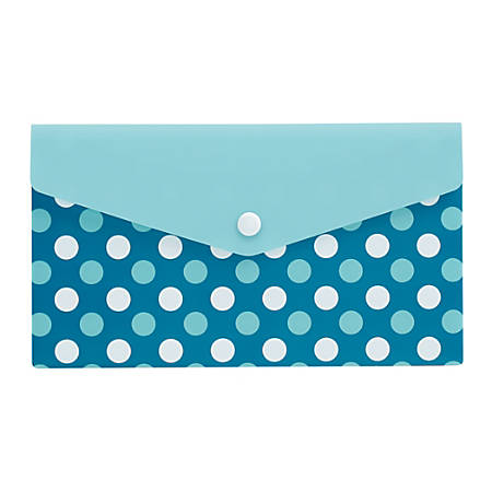 "Office Depot® Brand Polypropylene Envelope, 2"" Expansion, Check Size, Blue With Polka Dots"