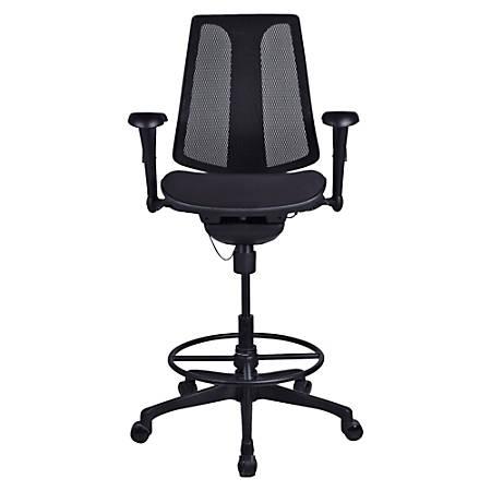 Lorell® Posture Lock Mesh Back Fabric Seat Stool, Black