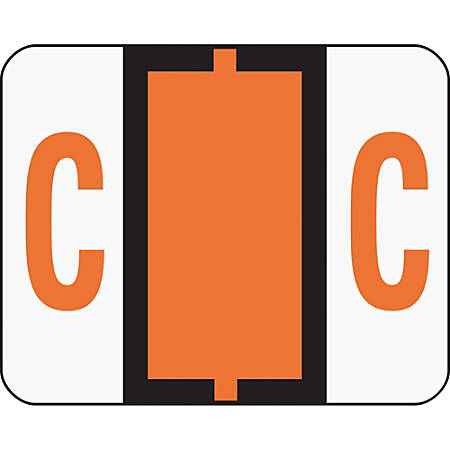Smead® BCCR Bar-Style Permanent Alphabetical Labels, C, Dark Orange, Roll Of 500