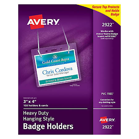 Avery Badge Holders Landscape With Lanyard For X Badge Box Of - Officemax name badge template