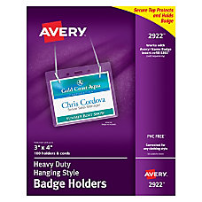 Avery Badge Holders Landscape With Lanyard