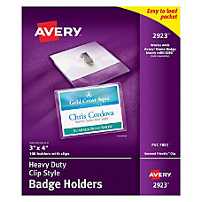 Avery Badge Holders Landscape With Clip