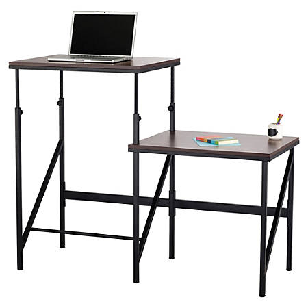 "Safco Bi-Level Stand/Sit Desk - Rectangle Top - Powder Coated Base - 57.50"" Table Top Width x 24"" Table Top Depth x 0.75"" Table Top Thickness - 50"" Height - Assembly Required - Black"
