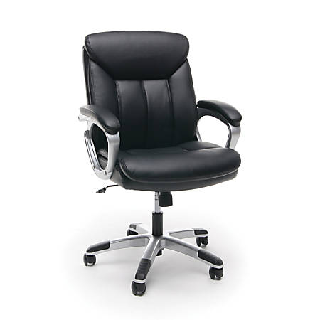 "OFM Essentials Leather Mid-Back Chair With Arms, 40 1/4""H x 24 1/2""W x 26 1/4"" D, Black/Silver"