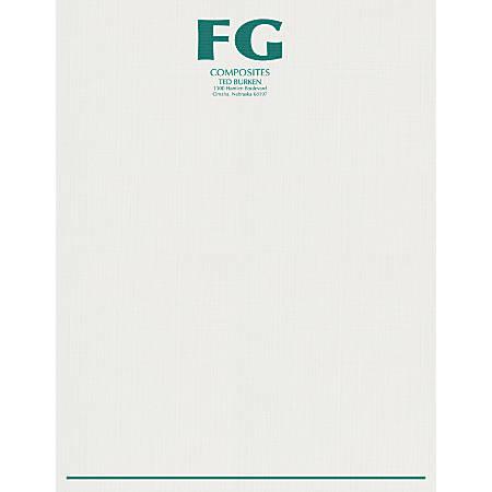 "Custom 1-Color Raised Print Stationery Letterhead, 8-1/2"" x 11"", Bright White Linen, Box Of 250"