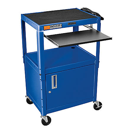 "Luxor Adjustable Height Cart, With Cabinet/Pullout Tray, 16 5/8""H x 24""W x 17 1/2""D, Blue"