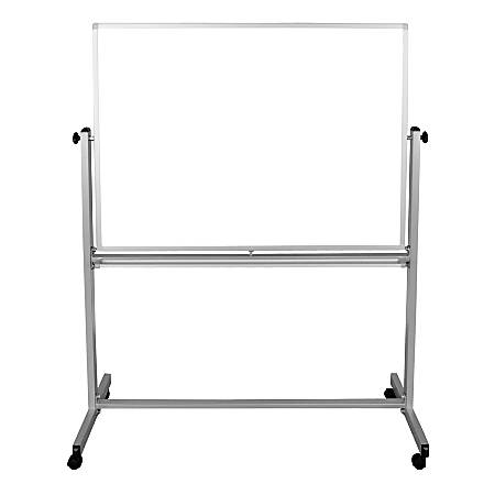 """Luxor Double-Sided Mobile Magnetic Dry-Erase Whiteboard, 48"""" x 36"""", Steel, White, Silver Aluminum Frame"""