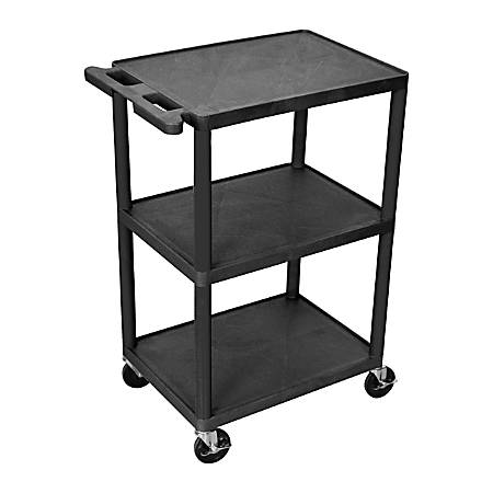 "Luxor 3-Shelf Cart, 41""H x 24""W x 18""D, Black"