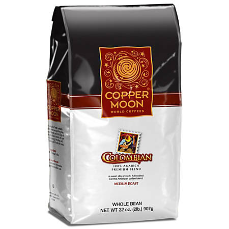 Copper Moon Coffee Whole Bean Coffee, Colombian, 2 Lb Per Bag, Case Of 4 Bags