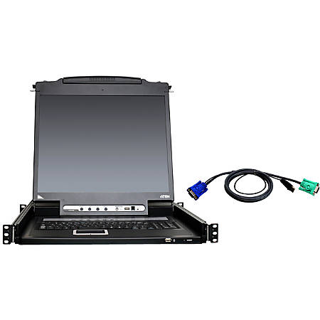 "ATEN 8-Port 19"" Single Rail USB/PS2 LCD KVM w/ Peripheral Sharing & 8 USB KVM Cables-TAA Compliant - 8 Computer(s) - 19"" LCD - SXGA - 1280 x 1024 - 2 x USB - Daisy Chain - Keyboard"