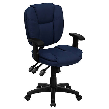 Flash Furniture Fabric Mid-Back Multifunction Ergonomic Swivel Task Chair With Adjustable Arms, Navy Blue/Black