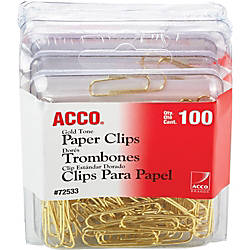 Acco Gold Tone Paper Clips Regular