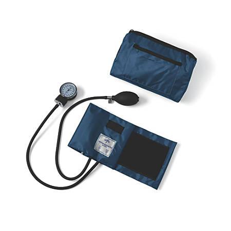 Medline Compli-Mates Handheld Aneroid Sphygmomanometer, Adult, Navy Blue