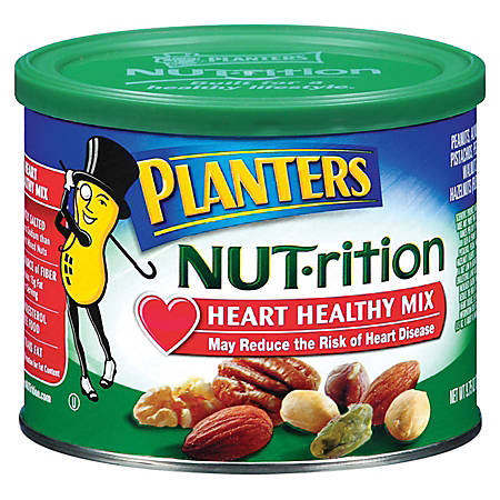 PLANTERS® Heart Healthy Mix, Assorted Nuts, 9.75 Oz Canister