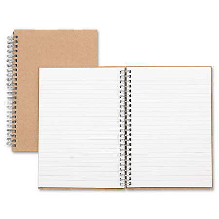 "Nature Saver Hardcover Twin Wire Notebooks - 80 Sheets - Wire Bound - 0.25"" Ruled - Ruled - 22 lb Basis Weight - 8 1/4"" x 5 7/8"" - Brown Cover - Kraft Cover - Hard Cover, Heavyweight, Micro Perforated - Recycled - 1 / Each"