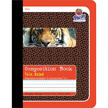 """Pacon Primary Journal Dotted Midline Comp Book - 100 Sheets - 0.63"""" Ruled - 7 1/2"""" x 9 3/4"""" - White Paper - Red Cover - 1Each"""