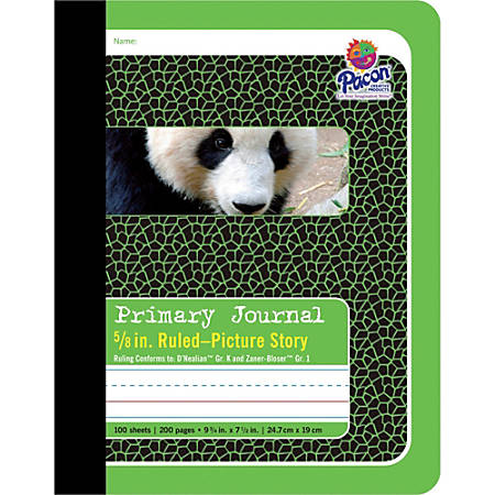 "Pacon Primary Journal Composition Books - 100 Sheets - 0.63"" Ruled - 4.50"" Picture Story Space - 7 1/2"" x 9 3/4"" - White Paper - Green Cover - 1Each"