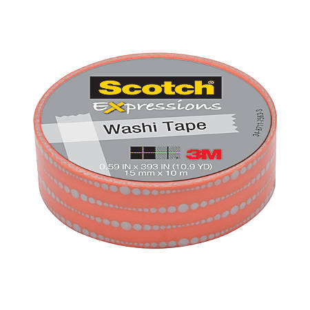 "Scotch® Expressions Washi Tape, 5/8"" x 393"", Bubble Dots"