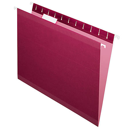 Pendaflex® Premium Reinforced Color Hanging Folders, Letter Size, Burgundy, Pack Of 25
