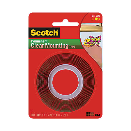 "Scotch® Permanent Double-Sided Tape, 1"" x 60"""