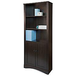 Realspace® Dawson 5-Shelf Bookcase With Doors, Cinnamon Cherry