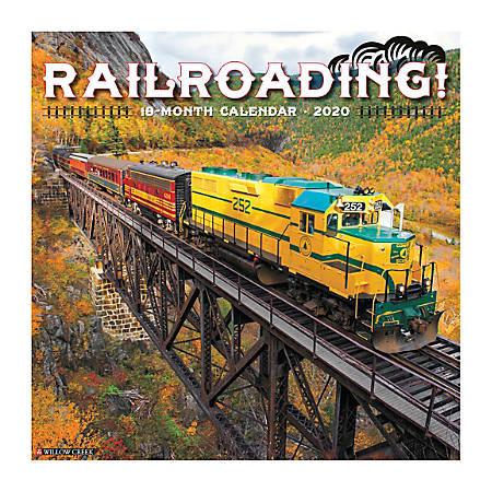 "Willow Creek Press Hobbies Monthly Wall Calendar, 12"" x 12"", Railroading, January To December 2020"
