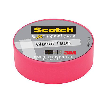 "Scotch® Expressions Washi Tape, 5/8"" x 393"", Pink"