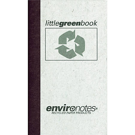 """Roaring Spring Little Green Memo Book - 60 Sheet(s) - Tape Bound - 3"""" x 5"""" Sheet Size - Mist Gray Cover - Recycled - 1 Each"""
