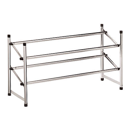 Honey-Can-Do Expandable Stackable Shoe Rack, 2-Tiers, Chrome