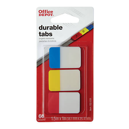 "Office Depot® Brand Filing Tabs, 1"" x 1 1/2"", Assorted Colors, 22 Tabs Per Pad, Pack Of 3 Pads"