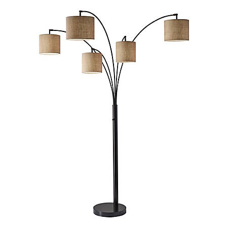 "Adesso® Trinity 5-Arm Arc Lamp, 82""H, Beige Shade/Antique Bronze Base"
