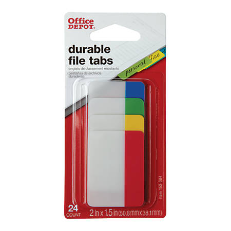 """Office Depot® Brand Filing Tabs, 2"""", Assorted Colors, Pack Of 24"""