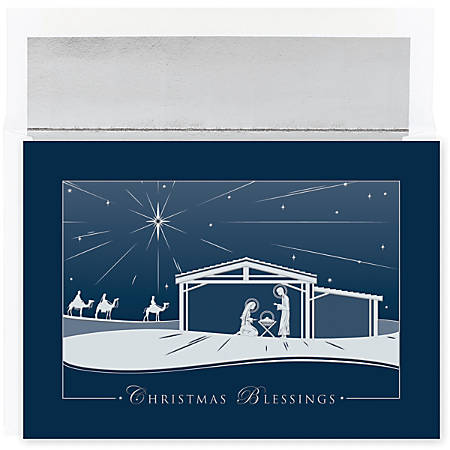 "Great Papers! Holiday Greeting Cards With Envelopes, 7 7/8"" x 5 5/8"", Silver Nativity, Pack Of 16"