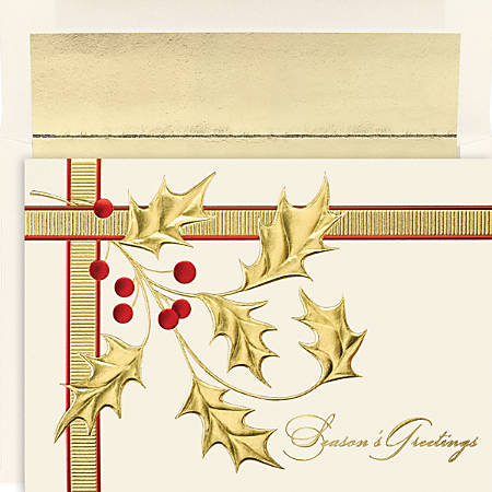 """Great Papers! Holiday Greeting Cards With Envelopes, 7 7/8"""" x 5 5/8"""", Gold Holly Branch, Pack Of 16"""