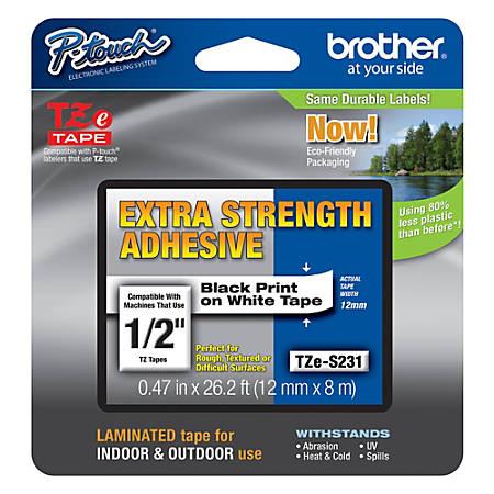 "Brother® TZe-S231CS Black-On-White Extra-Strength Tape, 0.5"" x 26.2'"