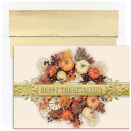 """Great Papers! Holiday Greeting Cards With Envelopes, 5 5/8"""" x 7 7/8"""", Thanksgiving Wreath, Pack Of 16"""
