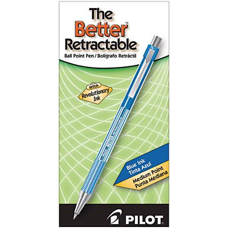 Pilot® Better™ Retractable Ballpoint Pens, Medium Point, 1.0 mm, Translucent Blue Barrel, Blue Ink, Pack Of 12