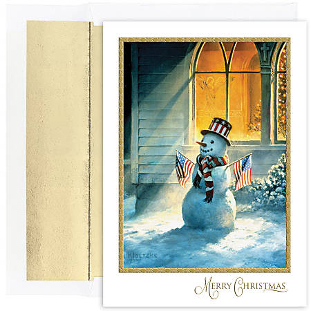 """Great Papers! Holiday Greeting Cards With Envelopes, 5 5/8"""" x 7 7/8"""", Patriotic Snowman, Pack Of 18"""