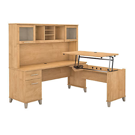"Bush Furniture Somerset 3 Position Sit to Stand L Shaped Desk With Hutch, 72""W, Maple Cross, Standard Delivery"
