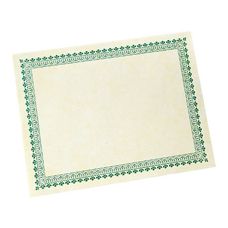 "Gartner™ Studios Green Border Certificates, 8 1/2"" x 11"", Pack Of 100"