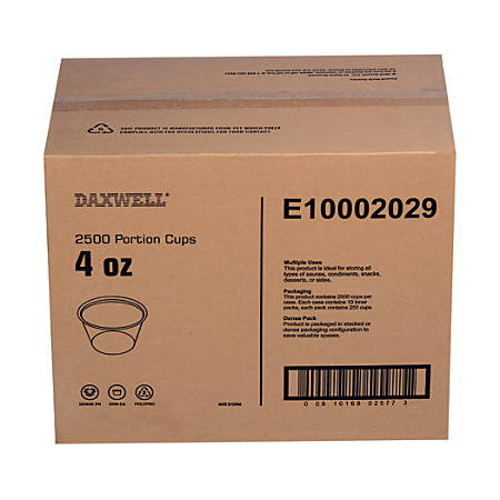 Portion Cups, 4 Oz, 10 Per Pack, Carton Of 250 Packs