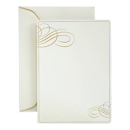 Gartner™ Studios Formal Invitations And Envelopes, Gold Foil Swirl, Pack Of 25