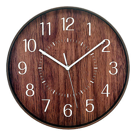 "Realspace™ Round Wall Clock, 12"", Woodgrain"