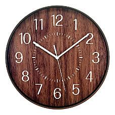 Realspace Round Wall Clock 12 Woodgrain
