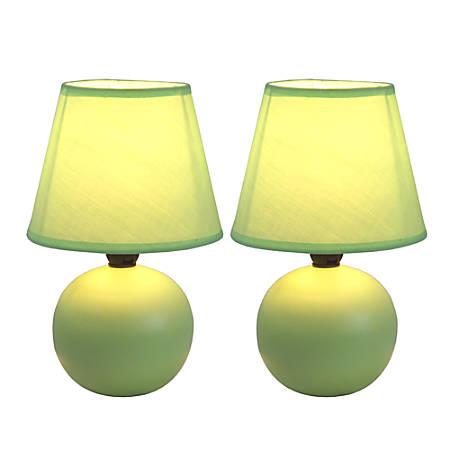 "Simple Designs Mini Globe Table Lamps, 8 7/8""H, Green Shade/Green Base, Set Of 2"